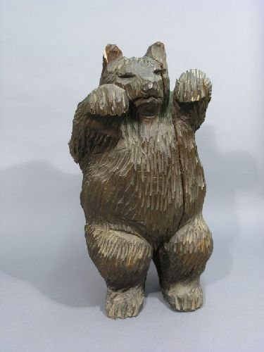221: A Black Forest carved wood model of a dancing bear