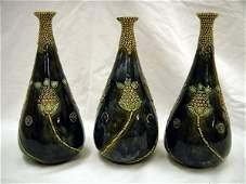 488 Three Royal Doulton bluegreen glazed stoneware bo
