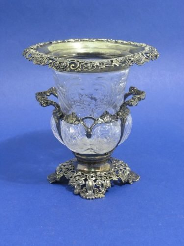 886: Edwardian silver mounted vase