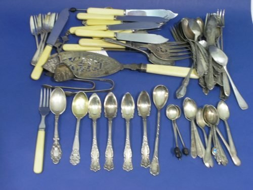 866: Set 4 teaspoons & various flatware