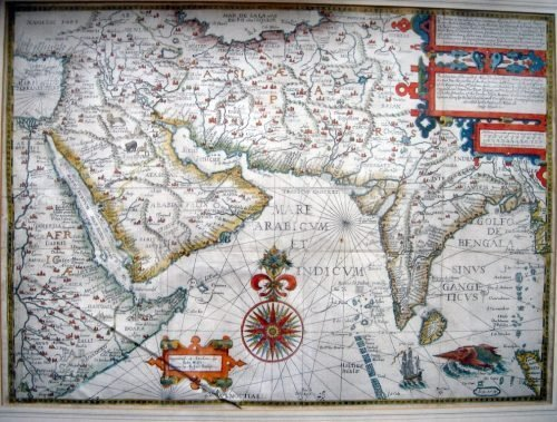 1696: John Wolfe Map of Arabia and India, 15 x 20.5 ins