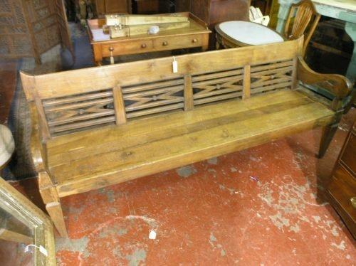 572: A Continental carved walnut farmhouse bench, 6 ft