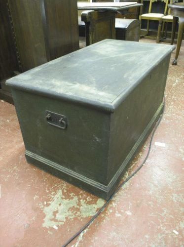 568: A 19th century green painted pine trunk, 3ft 6ins