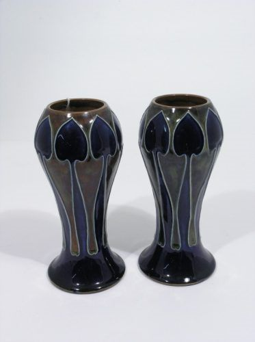 381: A pair of Royal Doulton vases by Frank Butler, 8.7