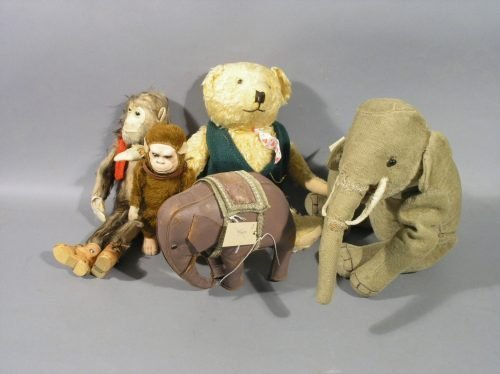 16: A mohair plush elephant, and other toys - 6 total