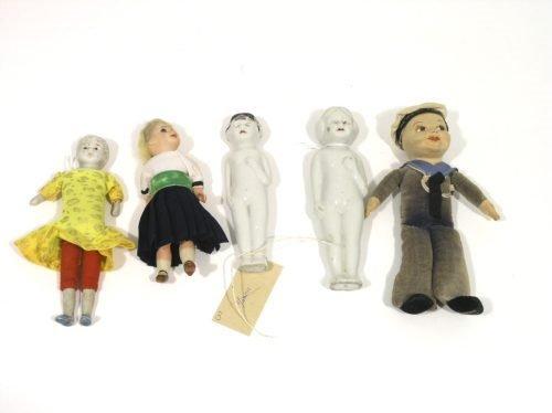 15: Two Japanese glazed china dolls, Norah Wellings sai