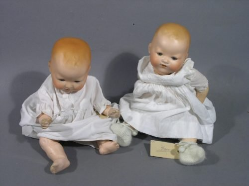 6: Two Armand Marseille bisque My Dream Baby dolls, 13.