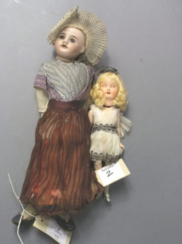 2: An SFBJ bisque doll and a smaller composition doll
