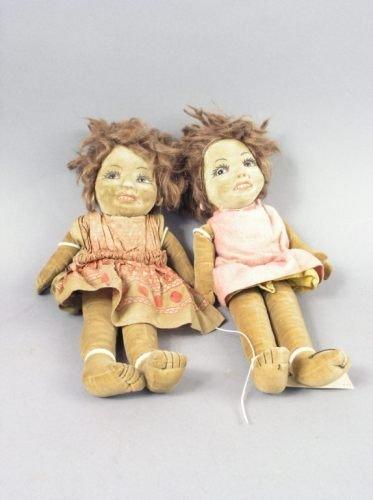 5: Two South Sea Island cloth dolls, 14in.