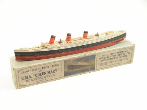 16: A Chad Valley RMS 'Queen Mary' ship model, 11.75in.