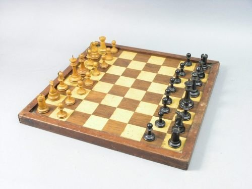 21: A Staunton pattern chess set & board