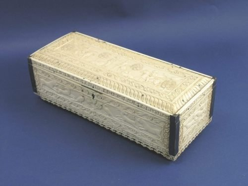 58: A 19th century Indian carved ivory box, 10.5ins