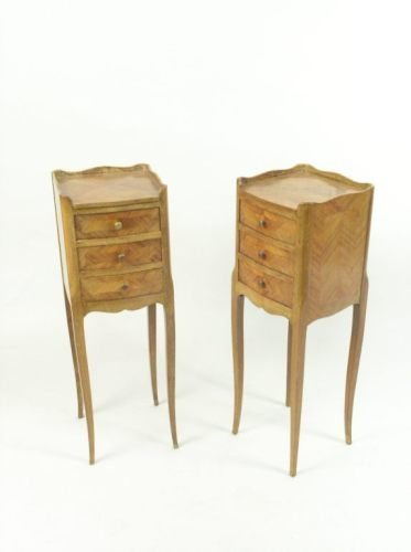 676: Pair of French walnut bedside tables