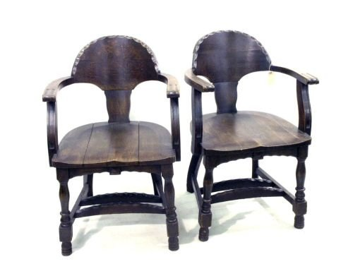 682: A pair of oak tub chairs,