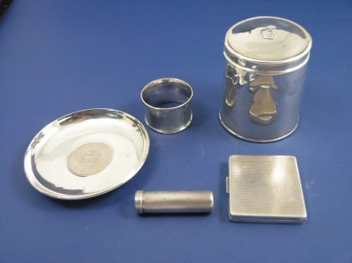 1139: Silver box, dish, 3 other items