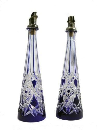 1143: A pair of Swedish white metal mounted blue overla