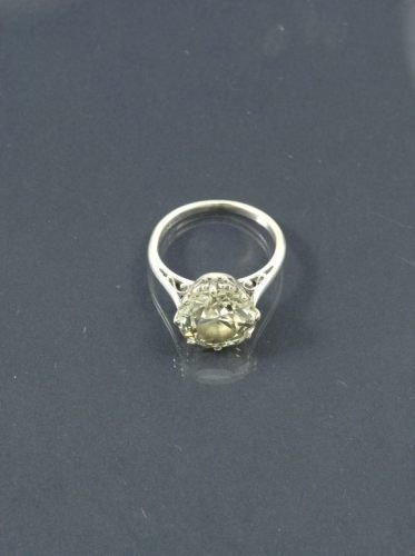 1462: Platinum single stone diamond ring