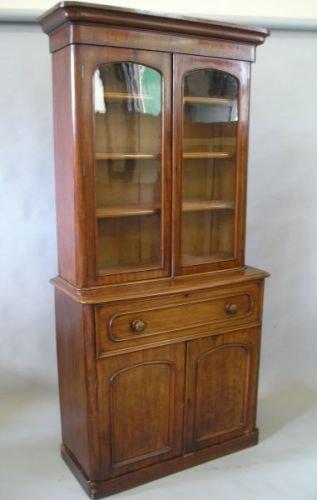 629E: A Victorian mahogany secretaire bookcase