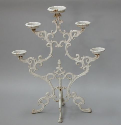 645E: A pair of Victorian style cast iron five-tier pla