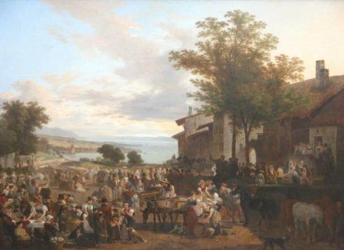940E: Montfallet - oil - market scene with landscape in