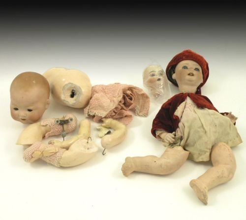 2: Two German bisque dolls and a doll's head