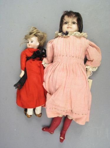 7: An English bisque doll and a smaller bisque doll