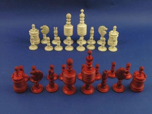 16: A carved bone chess set,