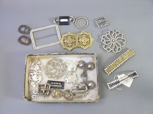 202: Eight Edwardian paste set buckles & others (21)