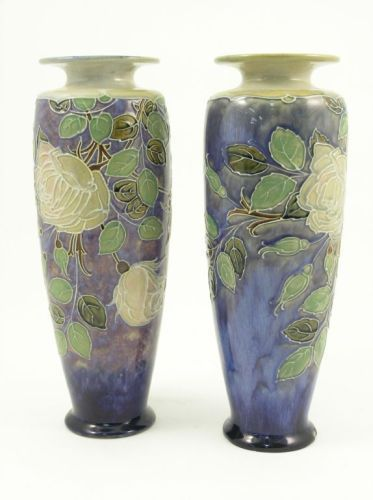 504: A pair of Royal Doulton stoneware vases, 14in.