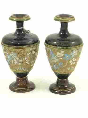 505: A pair of small Royal Doulton stoneware vases, 7in