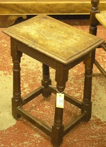 883: An early 18th century oak joint stool, 1ft 4ins