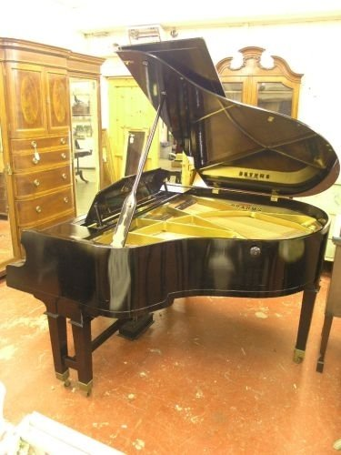 885: A Lauberger & Gloss, Wien, ebonised baby grand pia