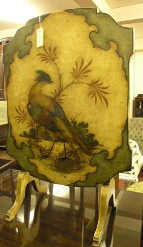903: A Davrords patent and painted wood fire screen tab