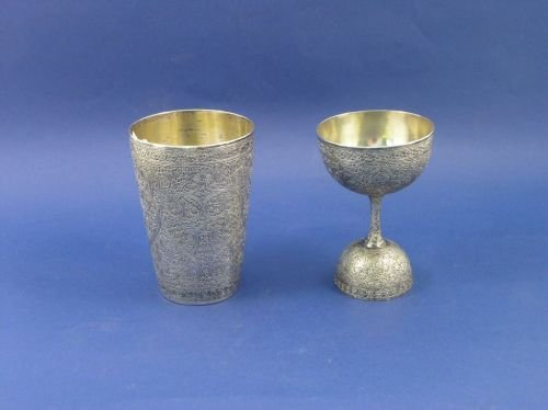1306: An Indian white metal beaker & a cup