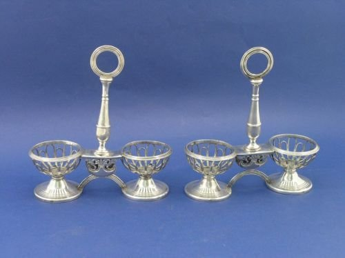 1308: A pair of 19th century French silver twin salt st