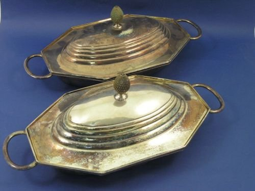 1312: A pair of silver plated entree dishes, 15ins