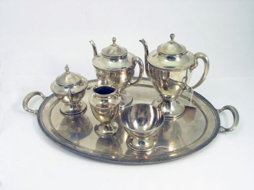 1388: A Mexican Sterling silver six-piece teaset, weigh