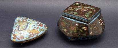 703: A Japanese cloisonne cockle shaped box,