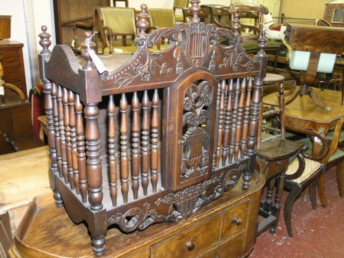 1088: A French carved walnut hanging food cupboard, 3ft