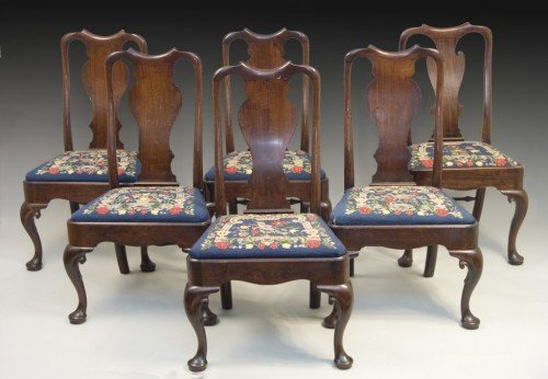 1193: Six Queen Anne red walnut dining chairs,