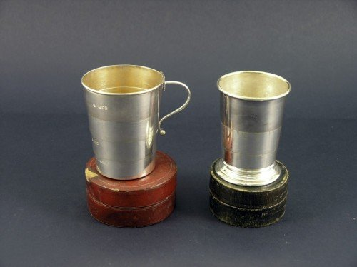 1634: Victorian silver telescopic hunting cup & plated