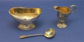 1730: A Victorian sugar basket , cream jug & sifter spo