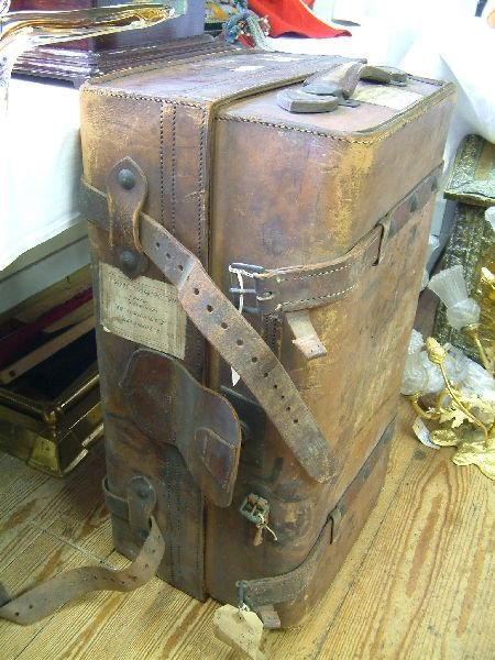 205F: An early 20th Century leather cabin trunk, 27in.
