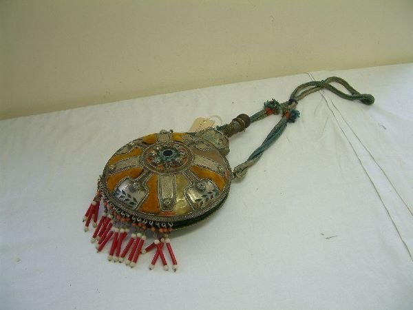 216F: An eastern nickel and cloth bound pilgrim flask,