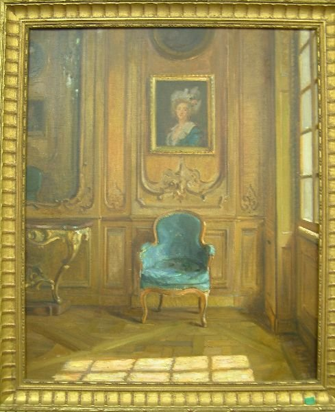 758F: English School Drawing room interior 25in. x 21in