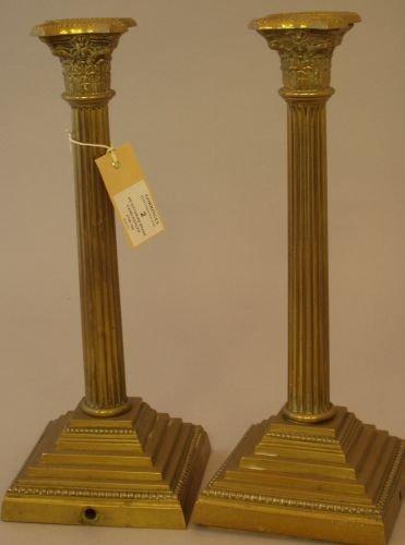 2E: A pair of Victorian brass Corinthian column candles