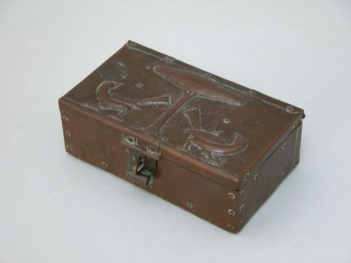 4E: An Arts and Crafts embossed copper club cigar box
