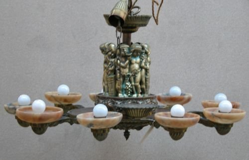 6E: A French brass and bronze ceiling pendant