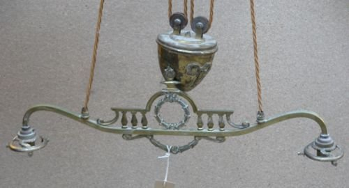 11E: A Victorian adjustable two-light ceiling pendant;