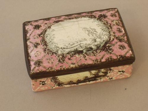 24E: A Staffordshire rectangular enamelled snuff box, 1